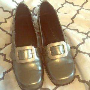 Silver Chinese Laundry loafers in silver